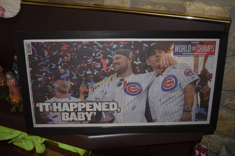 38ec6cc9779 FREE SHIPPING Original Chicago Cubs 2016 World Series Champions Custom framed  newspaper rustic solid cedar 11 5 Sun-Times