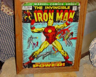 FREE SHIPPING Iron Man Comic custom framed solid cedar wood 15X18 weathered metal sign oak finish country rustic wall hanging display
