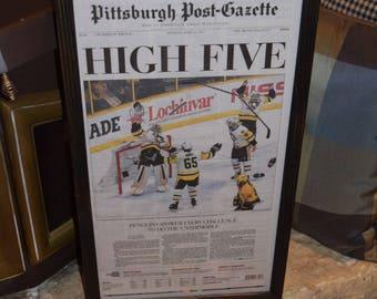 FREE SHIPPING 2017 Pittsburgh Penguins Stanley Cup Champions Custom original framed Pittsburgh Post Gazette newspaper deep profile frame