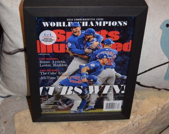 Chicago Cubs Special Sports Illustrated complete magazine 1 of 4 custom framed solid cedar 2016 World Series Champions