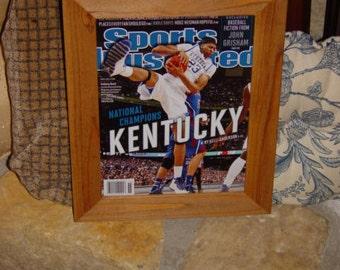 FREE SHIPPING University of Kentucky 2012 Sports Illustrated magazine custom framed solid cedar rustic oak finish