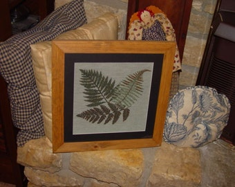 FREE SHIPPING Unique fern tapestry custom framed solid cedar matted oak finish country rustic wall hanging display