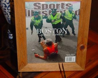 FREE SHIPPING Boston Marathon 2013 Sports Illustrated magazine custom framed solid cedar rustic oak finish