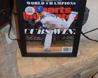 Chicago Cubs Special Sports Illustrated complete magazine 3 of 4 custom framed solid cedar 2016 World Series Champions Jon Lester
