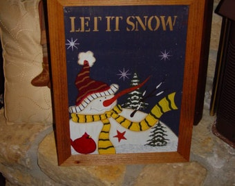 FREE SHIPPING Christmas custom framed solid cedar wood metal Let it Snow sign oak finish country rustic snowman display