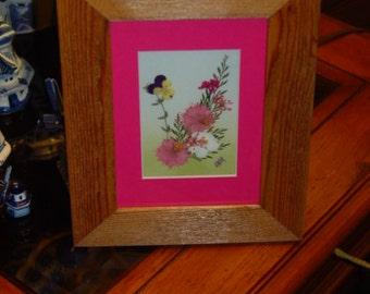 FREE SHIPPING Dried flower custom framed solid cedar arrangement oak finish country rustic display pink mat