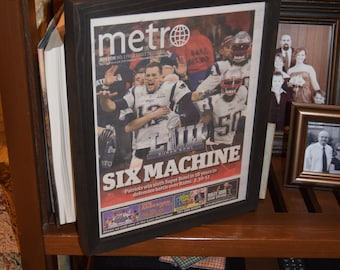 FREE SHIPPING New England Patriots framed newspaper Super Bowl LIII Champions complete Six Machine Tom Brady
