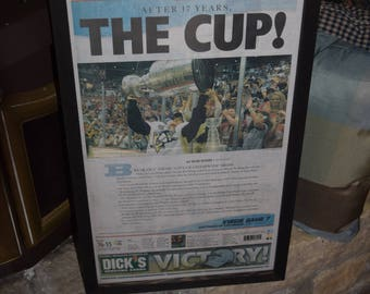 FREE SHIPPING 2009 Pittsburgh Penguins Stanley Cup Champions Custom original framed Pittsburgh Tribune Review newspaper deep profile frame