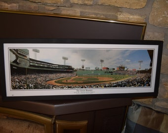 FREE SHIPPING Boston Red Sox panoramic framed print solid wood dark finish rustic display Green Monster