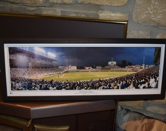 FREE SHIPPING Vintage Chicago Cubs panoramic framed print solid wood dark finish rustic display Wrigley Field