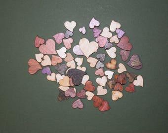 FREE SHIPPING 60 Mini Heart laser cut wood cutouts scrapbook craft embellishments multi color
