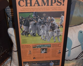 FREE SHIPPING 2010 San Francisco Giants original newspaper framed solid rustic wood World Series Champions Sporting Green