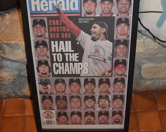 FREE SHIPPING Rare 2007 Boston Red Sox original complete framed newspaper World Series Champions  Team cover