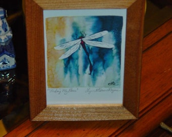FREE SHIPPING Dragonfly signed custom framed print solid rustic cedar oak finish Finding My Place