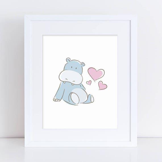 Arte del hipopótamo bebé imprimible azul bebé hipopótamo | Etsy