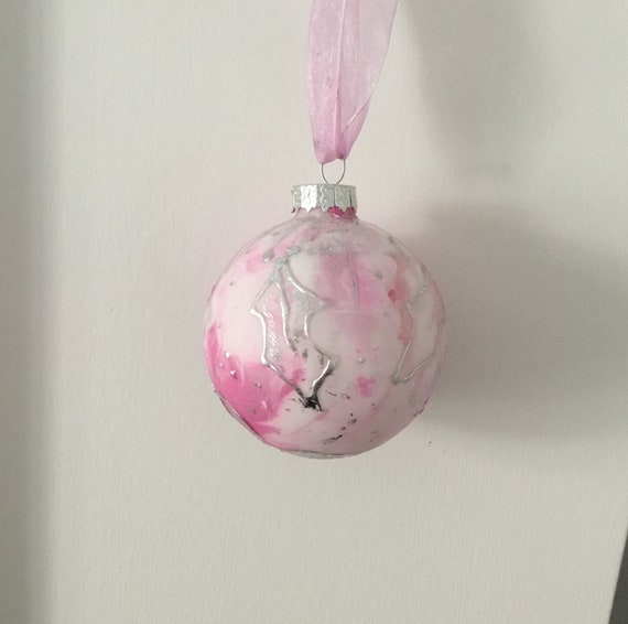 Pink Painted Bauble Pink And Silver Christmas Bauble Table Etsy