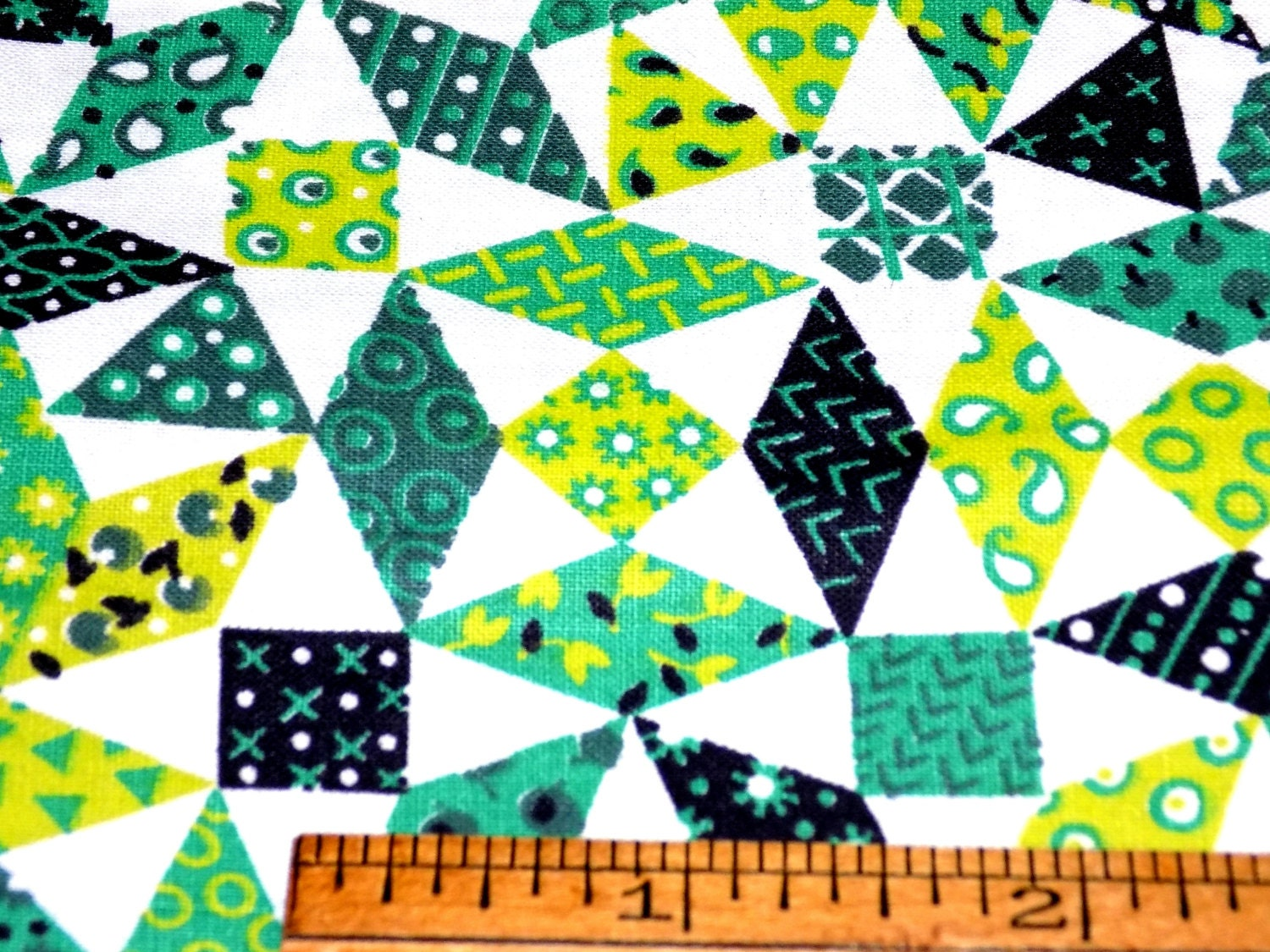 Vintage 1930s cotton fabric tiny cheater patchwork greens black white 35 wide by 36 long
