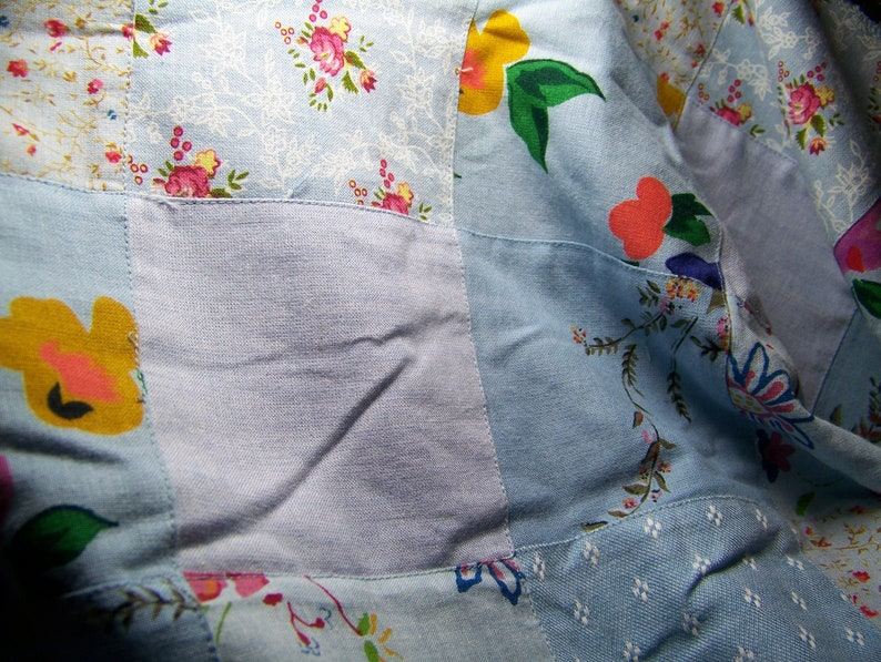 Vintage 1970/'s Cotton Fabric STITCHED PATCHWORK Blue Red Pink Green Yellow White 50 Wide By 36 Long Quilting Doll Clothes Aprons Inv3