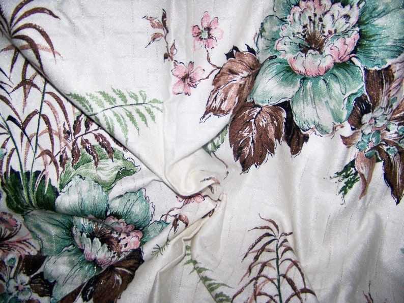 Vintage Fabric 1950/'s Cotton Barkcloth LARGE FLORAL Turquoise Pink Greens Metalic Gold Browns White 48 x 36 Decoration Pillows Totes InvC