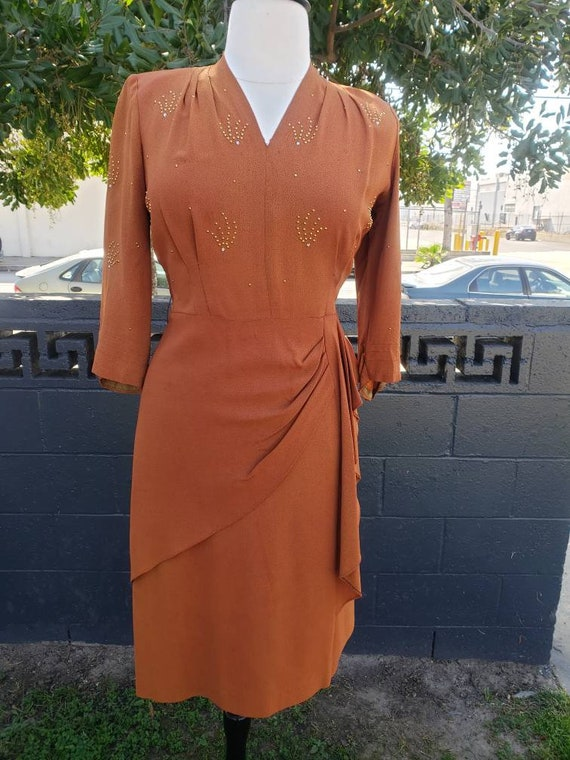 Incredible Volup 1940s rayon evening dress