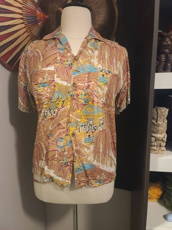 40s/50s Men's Rayon Shirt. Large