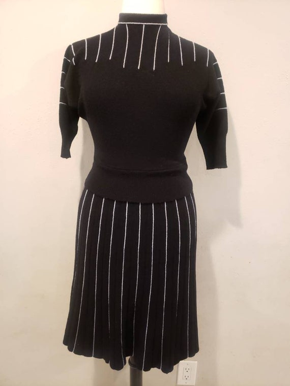 Volup 40s/50s Black striped sweater set.