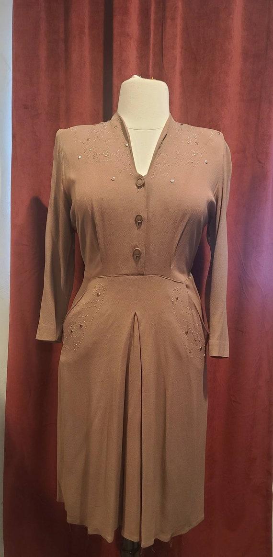 VOLUP 1940s brown rayon crepe dress