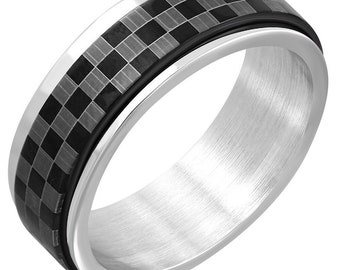 Stainless Steel Laser Print Checker// Grid Flat Band Ring