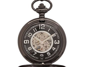 505ef6fbecdaf Personalized Mechanical Luxury Smooth Black Pocket Watch