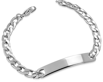 1d374d9d60255 Personalized 8mm Stainless Steel Curb Link Quality ID Bracelet- Free  engraving- Custom ID Bracelet- Unique gift for any occasion