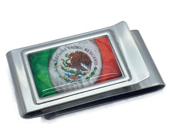 American Gun Flag USA Second 2nd Amendment Satin Chrome Plated Metal Money Clip