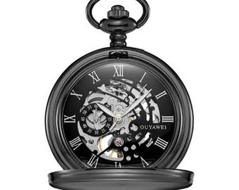 ff13a0768e4ef Mechanical Luxury Smooth Black Pocket Watch with Roman Numeral