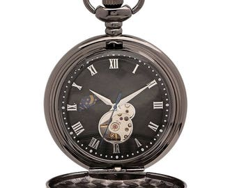 6f948147425b8 Mechanical Luxury Smooth Black Pocket Watch with Roman Numerals