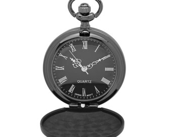 215e514f9dd00 Personalized All Black Matt Finish Small Pocket Watch