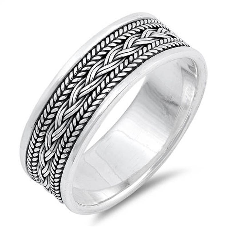 Personalized 8mm Sterling Silver Bali Design Ring