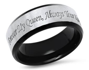Two Tone Forever My Queen, Always Your King Stainless Steel Promise Ring