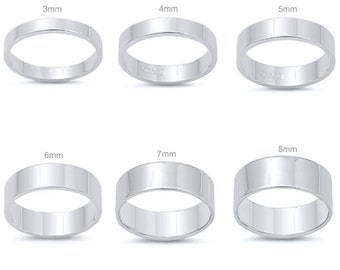 Personalized .925 Sterling Silver Flat Band Ring- Free Engraving