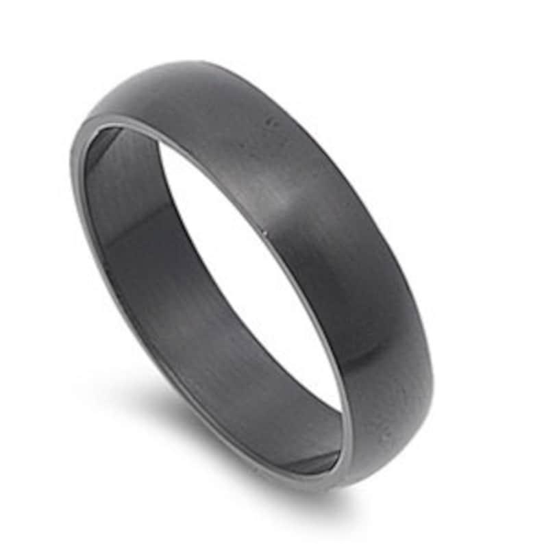 Free Engraving Personalized 6mm Stainless Steel Matt Finish  Black Ring