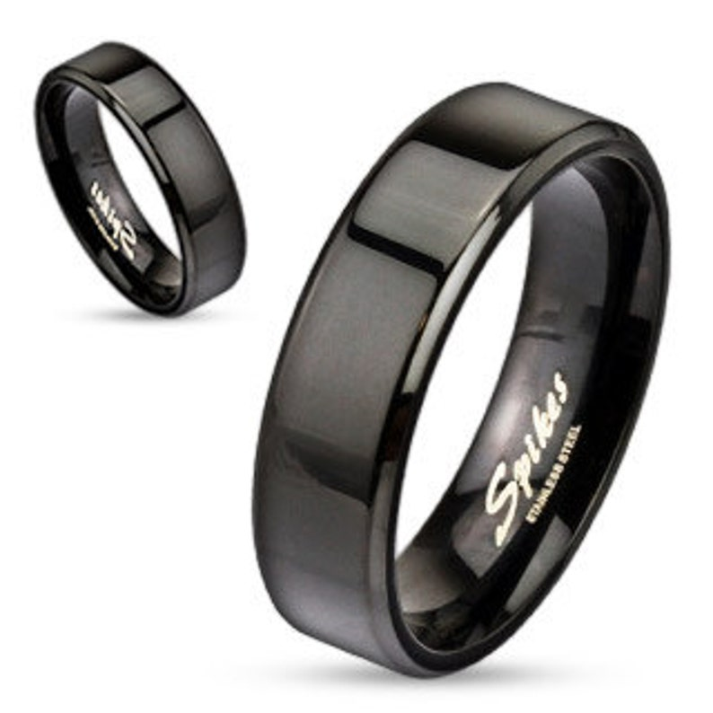 Personalized Stainless Steel Flat Edge Black Ring Free Engraving