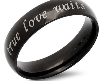 True Love Waits Stainless Steel Black Promise Ring - Free inside Engraving