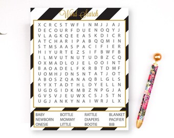 Baby Shower Word Search, Printable Baby Shower Game, Word Search Printable, Black and Gold Baby Shower, Baby Word Search, Shower Printable