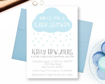 Rain Cloud Baby Shower Invitation, Raindrops, Rain drops, Shower with Love, Printable Baby Shower Invite, Rain shower, Edit Text, Editable
