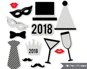 New Years 2018 Photobooth Props, Silver Glitter New Years Eve Party, New Years Printables, New Years Photo booth props, Instant Download