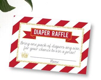 Prince Diaper Raffle, printable Diaper Raffle Ticket, Red Prince Baby Shower, Diaper Raffle Ticket, diaper raffle card,diaper raffle insert