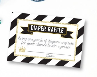 prince diaper raffle printable diaper raffle ticket black prince baby shower diaper raffle card diaper raffle insert black and gold
