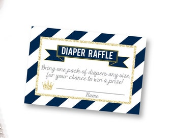 Prince Diaper Raffle, printable Diaper Raffle Ticket, Navy Prince Baby Shower, Diaper Raffle Ticket, diaper raffle card,diaper raffle insert