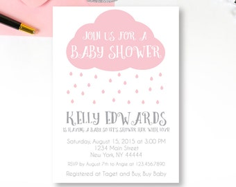 Pink Rain Cloud Baby Shower Invitation, Raindrops, Rain drops, Shower with Love, Baby Shower Invitation, Printable, Rain shower, Editable