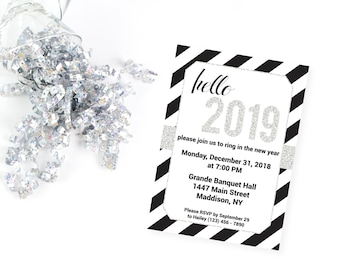 hello 2019 new years invitation new year invite new years eve party happy new year party black and white new year printable invitation