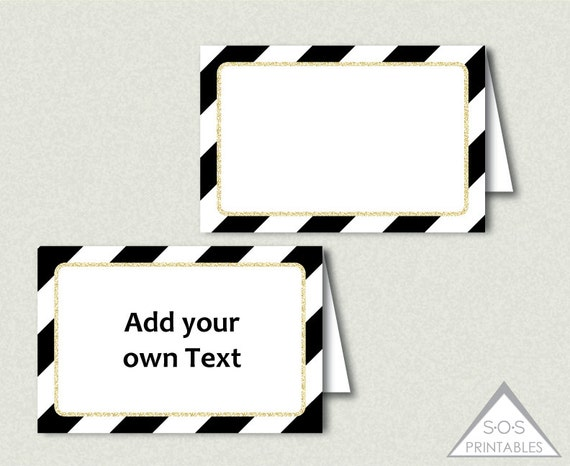 black white and gold tent labels buffet cards editable labels