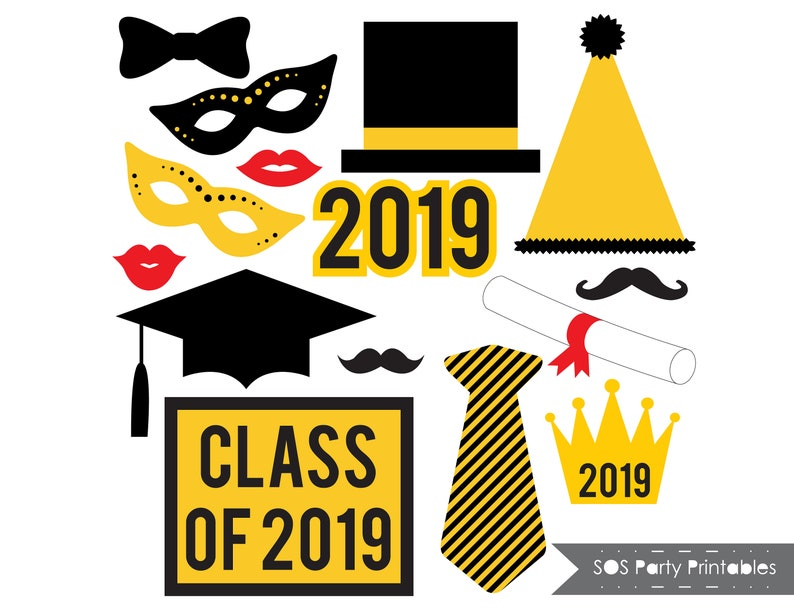 picture relating to Graduation Photo Booth Props Printable identify Commencement Photobooth Props, 2019 Grad Social gathering Printables, Cl of 2019 picture booth props, Printable Props, Immediate Obtain, black and gold